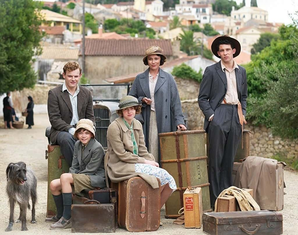 The Durrells by the road when they first arrive in Corfu